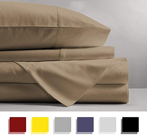iece 100% Cotton Sheets - Taupe Long-staple Cotton Twin Sheets, Fits Mattress Upto 15'' Deep Pocket, Sateen, Soft Cotton Bed Sheets and Pillowcases Solid ()