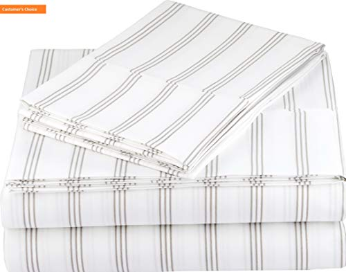 (Mikash New Soft Microfiber Sheet Set - Cal King, Taupe Stripe | Style)