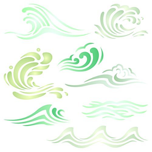 Waves Stencil - 4.5 x 4.5 inch (S) - Reusable Ocean Sea Wave Water Effect Wall Stencil Template - Use on Paper Projects Scrapbook Journal Walls Floors Fabric Furniture Glass - Wallpaper Border Outs Cut