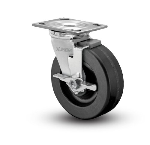 Albion-16-Series-8-Diameter-Phenolic-Wheel-Medium-Heavy-Duty-Zinc-Plate-Swivel-Caster-with-Face-Brake-Roller-Bearing-4-12-Length-X-4-Width-Plate-1250-lbs-Capacity-Pack-of-2