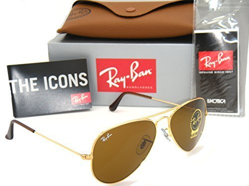 Authentic Ray-Ban Aviator 3025 RB3025 001/33 55mm Gold Frame / Brown Lens - Ban Ray Small Aviator Sunglasses