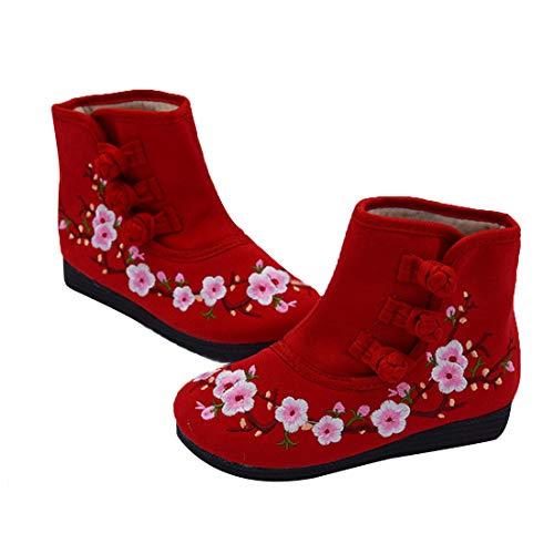 Plat De Fond Chaussures Fleurs Prunier Rouge Courte Ioshapo Confortable Botte Motif Brodée Enfants wU64UqxvX1
