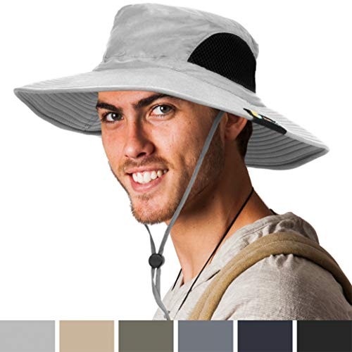 SUN CUBE Premium Boonie Hat | Wide Brim Adjustable Chin Strap | Outdoor Fishing, Hiking, Safari, Summer Bucket Hat | UPF 50+ Sun Protection | Packable Breathable Men, Women Mesh Hat (Light Gray) (Chin Strap Sun Hat)