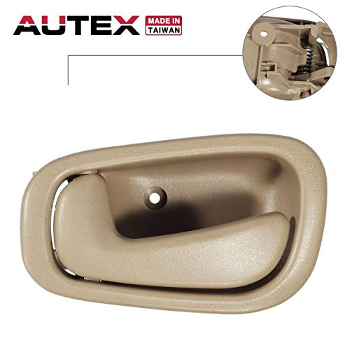AUTEX 1pc Interior Front/Rear Left Driver Side Door Handle Compatible with Toyota Corolla 1998 1999 2000 2001 2002 (Beige) 79500 80890 69206-02050-E0 6920602050E0
