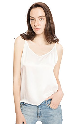 ure Silk Camisole for Women Cami Tank Tops Soft V-Neck Ivory Size S (Ladies Silk Camisoles)