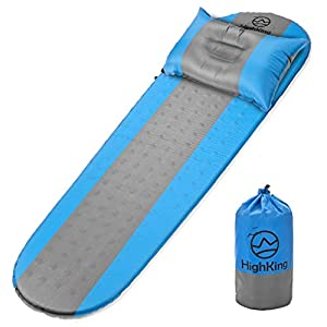 Self Inflating Sleeping Pad – Inflatable Sleeping Mat Perfect for Outdoor Adventures, Backpacking, Camping – Comfortable Ultralight Sleeping Pad Mattress with Carrying Bag + Bonus Pillow by HighKing