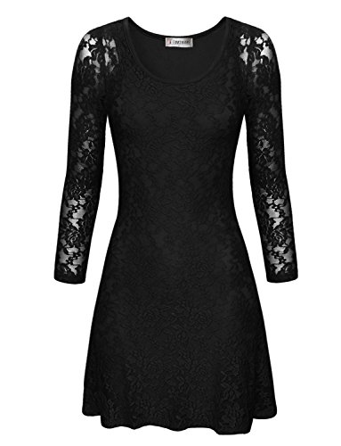 Tom's Ware Women Stylish Floral Lace Long Sleeve Scoop Neck Flare Dress TWCWD109A-BLACK-US S (Scoop Neck Sleeve Long Dress)