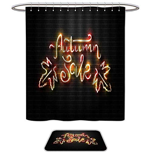 Sign Georgia Neon Bulldogs (Set of 2 shower Shower Curtain and Mat SetVector realistic isolated neon sign for Autumn Sale for decoration and covering on the wall background Concept of Happy Autumn . Waterproof Fabric Bathroom)
