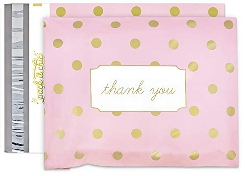 Pack It Chic - 10X13 (100 Pack) Pink Polka Dot - Thank You Poly Mailer Envelope Plastic Custom Mailing & Shipping Bags - Self Seal (More Designs Available)