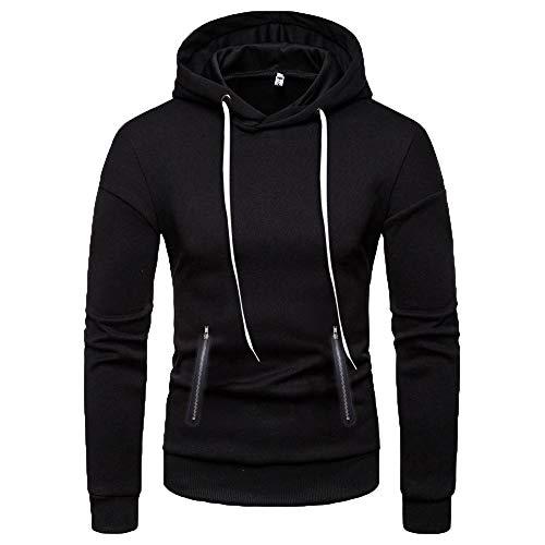 Sunhusing Men's Solid Color Double Zip Pocket Hooded Long Sleeve Sweatshirt Top Slim Fit Pullover Shirt