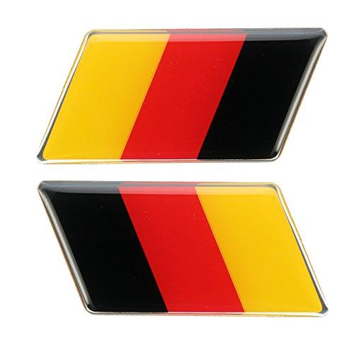 Iris-Shop - Pair Aluminum Germany Flag Rear Emblem Badge Sticker For Jetta /MK7 /MK6 /Golf/CC/GTI Waterproof