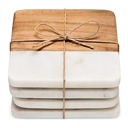 Artistic India luxurious Atelier Marble and Wood Set of 4 Coasters, 4 x 4 inches for Drinks, Hot/Cold ,Coffee Mugs, Beer Cans ,Bar Glasses. Tea Table/Bar coasters