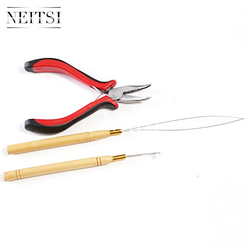 Neitsi 3 Pc Kit For Micro Ring Link Hair And Feather Extensions Pliers Micro Pulling Needle And Loop Threader