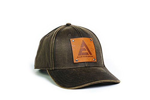 Allis Chalmers Hat with Leather Logo Emblem, Oil Distressed