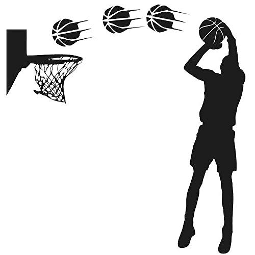 DNVEN DIY Vinyl Basketball Players Shot Silhouette with Basketballs and Basketry Handmade Wall Decals Stickers for Boy Rooms Kids Room