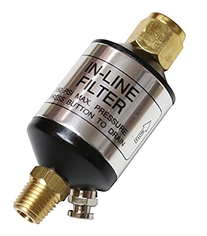 Compressor Filter Oil Water Separator with Drain Valve. For Air Tools, Plasma Cutters, and Air Lines. By Lematec (Pistola Hvlp)