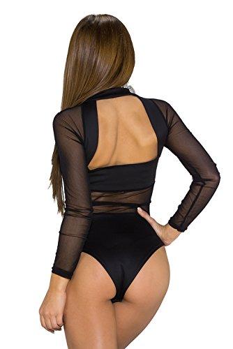 Nuevas señoras negro Sheer malla & opaco manga larga parte trasera abierta Teddy Bodysuit lencería trikini leotardo Teddies Pole Dance tamaño S UK 8–�?0EU 36–�?8