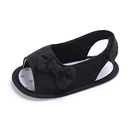 BZLine® Baby Mädchen Kleinkind Bowknot Krippe Prewalker Schuhe Sandalen Sandals Schwarz