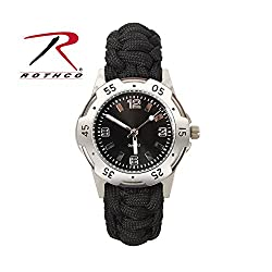 Rothco Paracord Bracelet Watch, Black, 8''