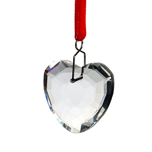 H&D 5pcs Clear Crystal Heart Shape Chandelier Prisms Pendant Suncatcher Hanging Drops -