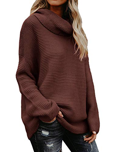 - Sherrylily Womens Loose Fit Turtleneck Long Sleeve Pullover Sweaters Casual Oversized Solid Color Jumpers (Large, Brown)
