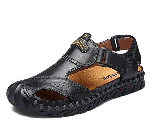 バウンス最も決定的メンズレザーサンダルファッション汗吸収性の通気性のある涼しいサンダル夏の屋外歩くとハイキングカジュアルなドライビングシューズサンダルZHANGM