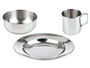 """LunchBots Children's Stainless Steel Dish Set - 3-Piece Set Includes Plate (8""""), Bowl (5"""") and Handled Mug (8 oz) - Great for Camping and Picnics - Eco-Friendly, Dishwasher Safe"""