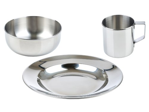 Steel Set Stainless Dinner - LunchBots Children's Stainless Steel Dish Set - 3-Piece Set Includes Plate (8