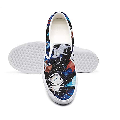 Young Women Cats Space Planet Casual Sneaker Unique Canvas Traveling Rubber Sole Skate Shoes