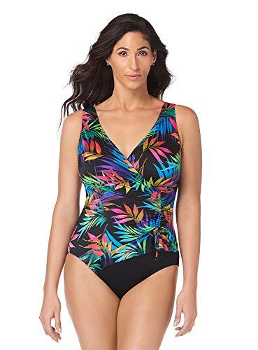 Longitude Women's Swimwear Amalfi Ruffle Surplice Tummy Control Long Torso One Piece Swimsuit, Multi, 10 - Longitude One Piece
