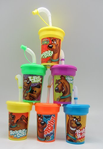 6 Scooby Doo Stickers Birthday Sipper Cups with lids Party Favor Cups (Scooby Doo Party Favors)