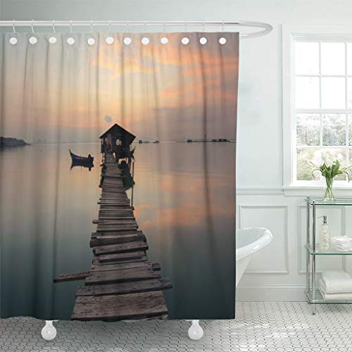 (Emvency Fabric Shower Curtain with Hooks Beach Fishermen's Jetty in Jelutong Pulau Pinang Taken During Sunrise on Disember Boat 60