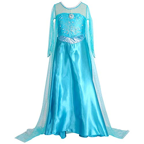 Enterlife Girls Elsa Costume Frozen Snow Queen Sequin Fancy Princess Dress Up for Birthday Party Halloween -