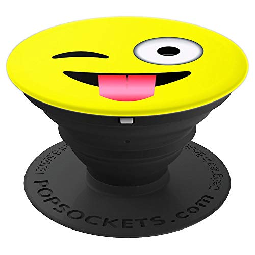 Emoji With Tongue Out (Emoji Tongue Out Wink Yellow Smiley Face - PopSockets Grip and Stand for Phones and)