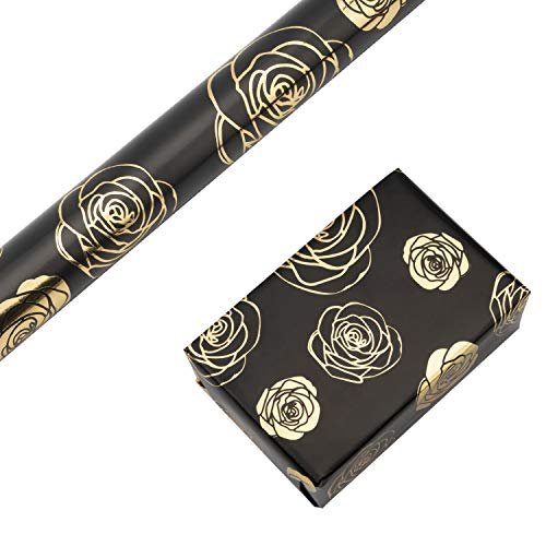 RUSPEPA Gift Wrapping Paper Roll-Gold Foil Rose Black Background Design for Wedding, Birthday, Shower, Congrats, and Holiday Gifts – 30 Inch X 16 Feet