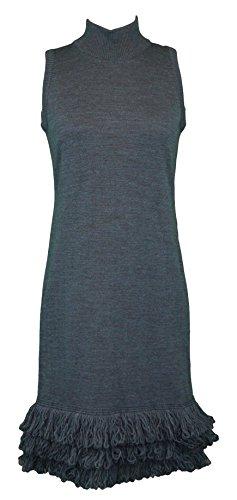 (CLIPS Women's Heather Navy Sleeveless Turtleneck Sweater Dress IT Sz 40 NEW)