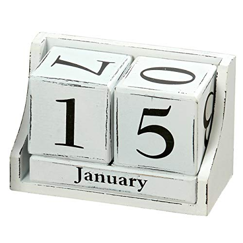 White Stain Wood Table - Modernist Perpetual Wood Cube Calendar, Desktop Accessory, White Numerals, Shabby Style, Rustic White Finish Over Black Stain, 5 Piece Set, MDF, 5 1/2 L x 2 3/4 W x 3 1/2 H Inches