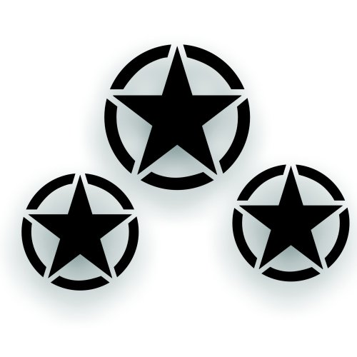 Solar Graphics USA Military Invasion Star Decal Set of 3 - One 20 Inch Hood, and Two 16 inch door Decals - Restore Or Custom any Army Willys, Truck or Jeep CJ Wrangler In Black Gloss ()