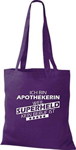 Shirtstown Bolso de tela Estoy Farmacéutico, weil Superheld sin Trabajo ist lila, morado