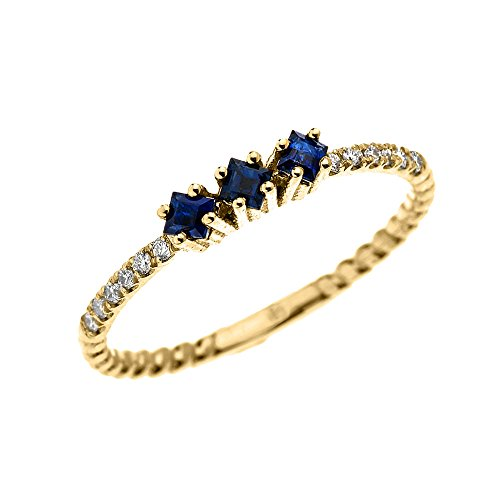 14k Yellow Gold Three Stone Princess Cut Sapphire and Diamond Dainty Rope Design Ring(Size 9.75)