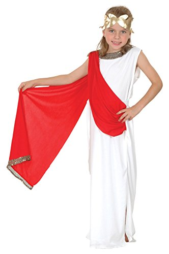 Childs Roman Toga Costume (Large White & Red Girls Goddess Costume)