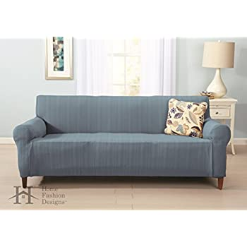 Darla Collection Platinum Strapless Slipcover. Form Fit, Slip Resistant, Stylish Furniture Shield / Protector with Cable Knit Fabric. By Home Fashion Designs Brand. (Sofa, Stone Blue)