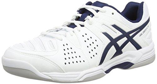 Asics Gel-dedicate 4 Indoor, Herren Tennisschuhe, Weiß (white/navy/silver 0150), 45 EU