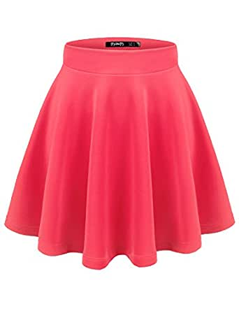 TWINTH Womens Versatile Stretchy Pleated Flare Skater Skirt Hotpink XS