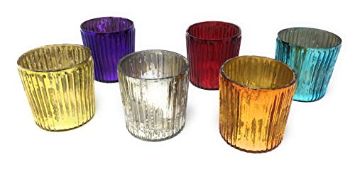 (Serene Spaces Living Multicolor Ribbed Votive Holders, Mercury Glass Finish, Set of 6 )