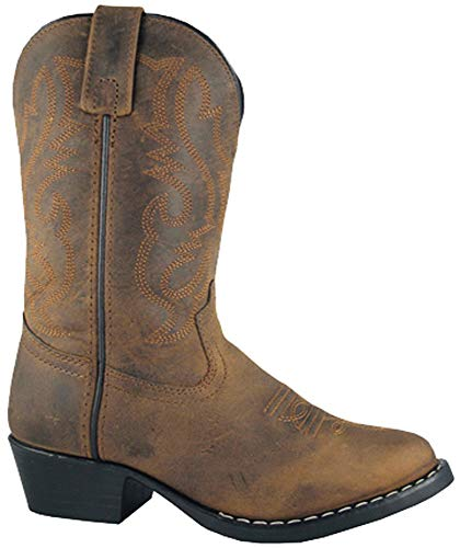 Smoky Children's Kid's Oiled Distress Brown Leather Western Cowboy Boot]()