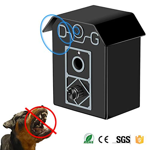 Electronic Dog Repellent - Sonic Dog Bark Control Device, 2019 Upgraded Outdoor Bark Controller, Dog Anti Barking Repellent and Sonic Bark Deterrents Device | Bark Breaker to Let Stop Barking Dogs (Anti Barking Device - Black)