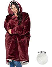 THE COMFY Original   Oversized Microfiber & Sherpa Wearable Blanket, Seen On Shark Tank, One Size Fits All