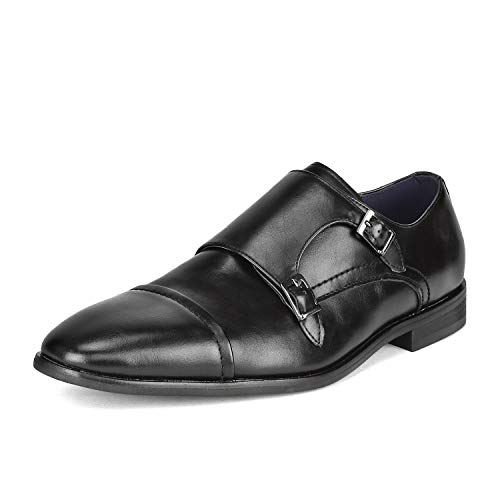 Bruno Marc Men's HUTCHINGSON_2 Black Dress Shoes Size 10 M - Double Faux Leather Strap