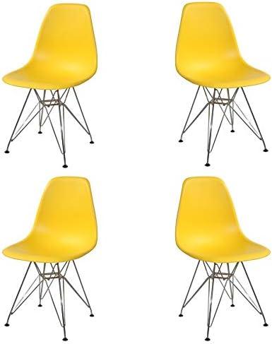 Ventamueblesonline Pack 4 SILLAS Tower Chrome Amarillas Extra Quality: Amazon.es: Hogar